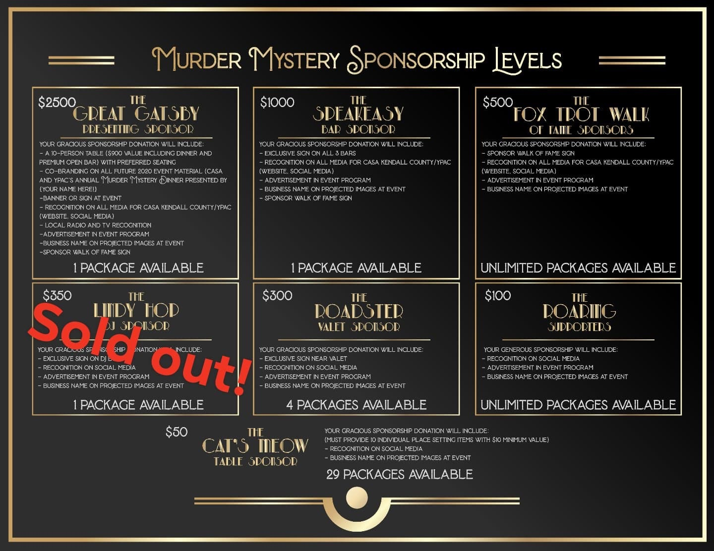 Murder Mystery Tickets and Sponsorships