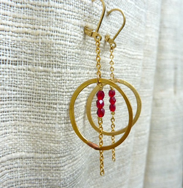 Brass Hoops in Red