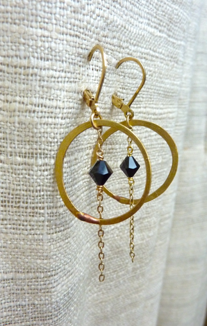Brass Hoops in Black