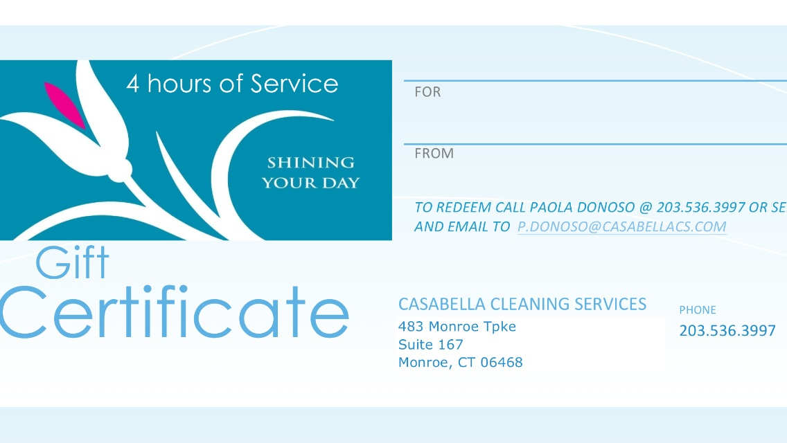 4 Hours Cleaning - $240.00