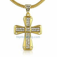"gold bling cross and 36"" chain"