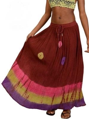 Shangri-La Shimmie Tye Dye Rayon Crinkle Skirt (out of stock)
