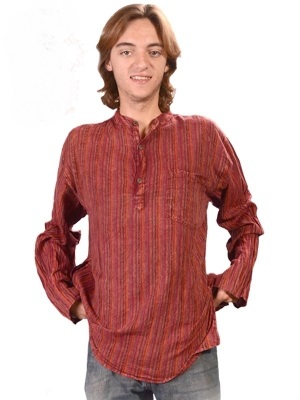 Lunar Bay Over Dyed Striped Mens Kurta