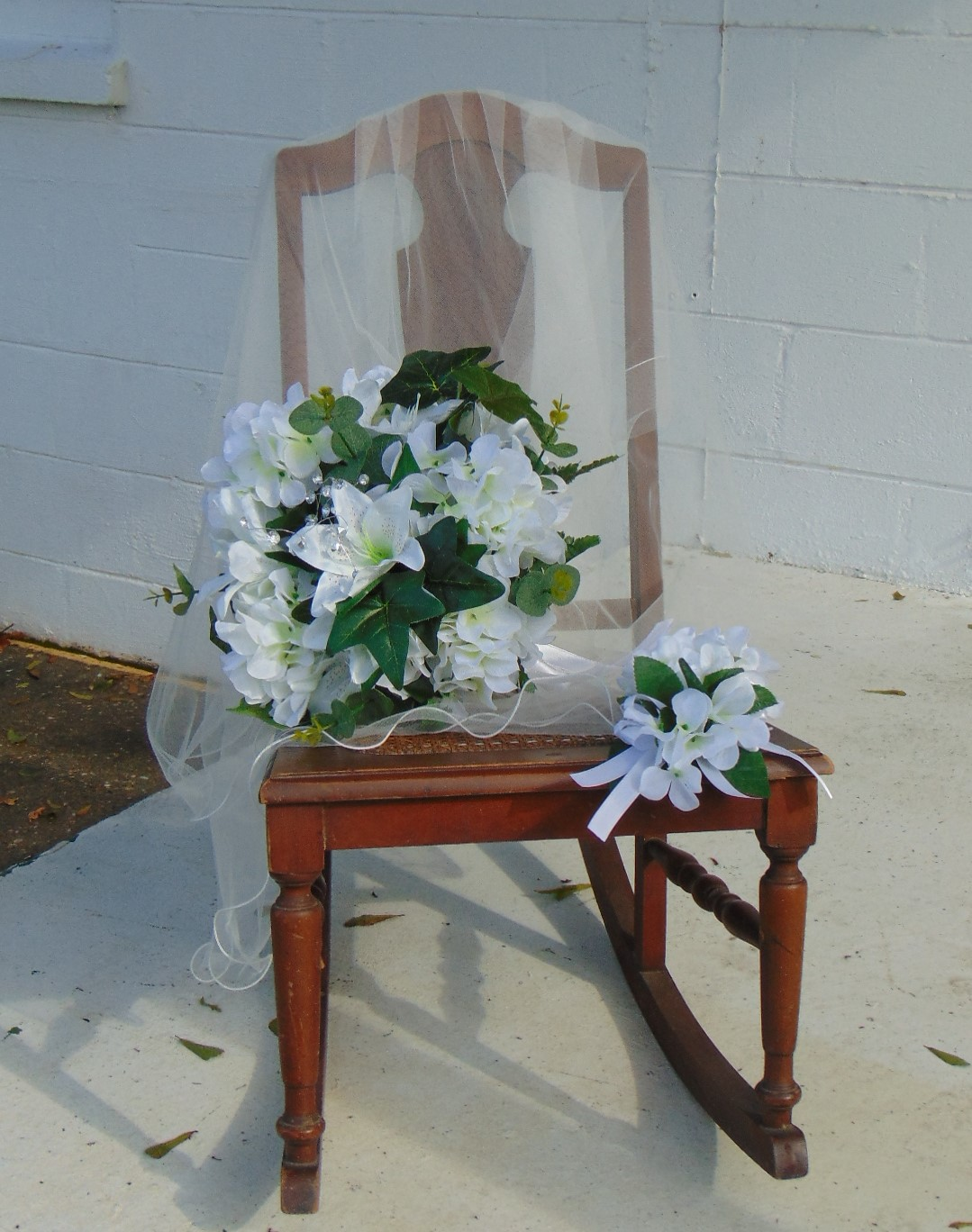 Silk Bridal Bouquet with corsage and boutonniere