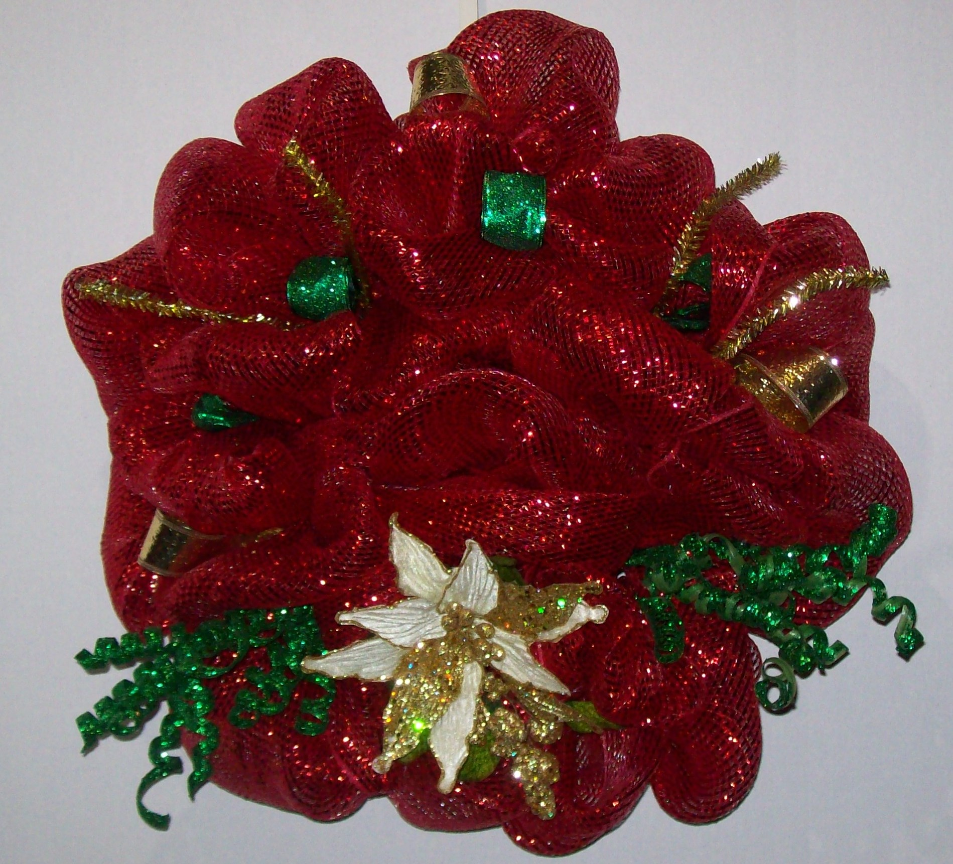 Red Deco Mesh  Door Wreath