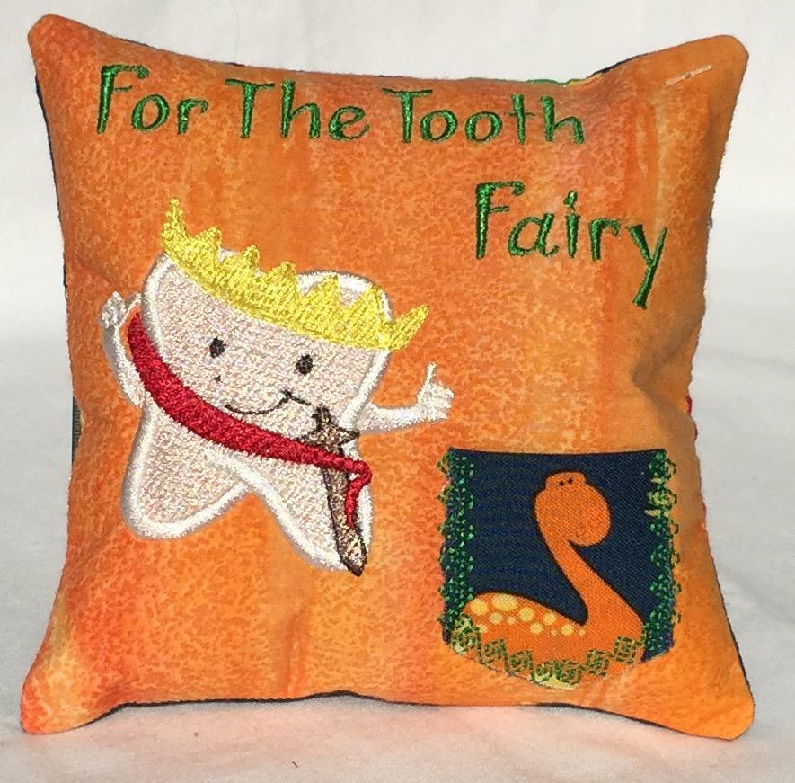 Prince Dinosaur Orange Tooth Fairy Pillow