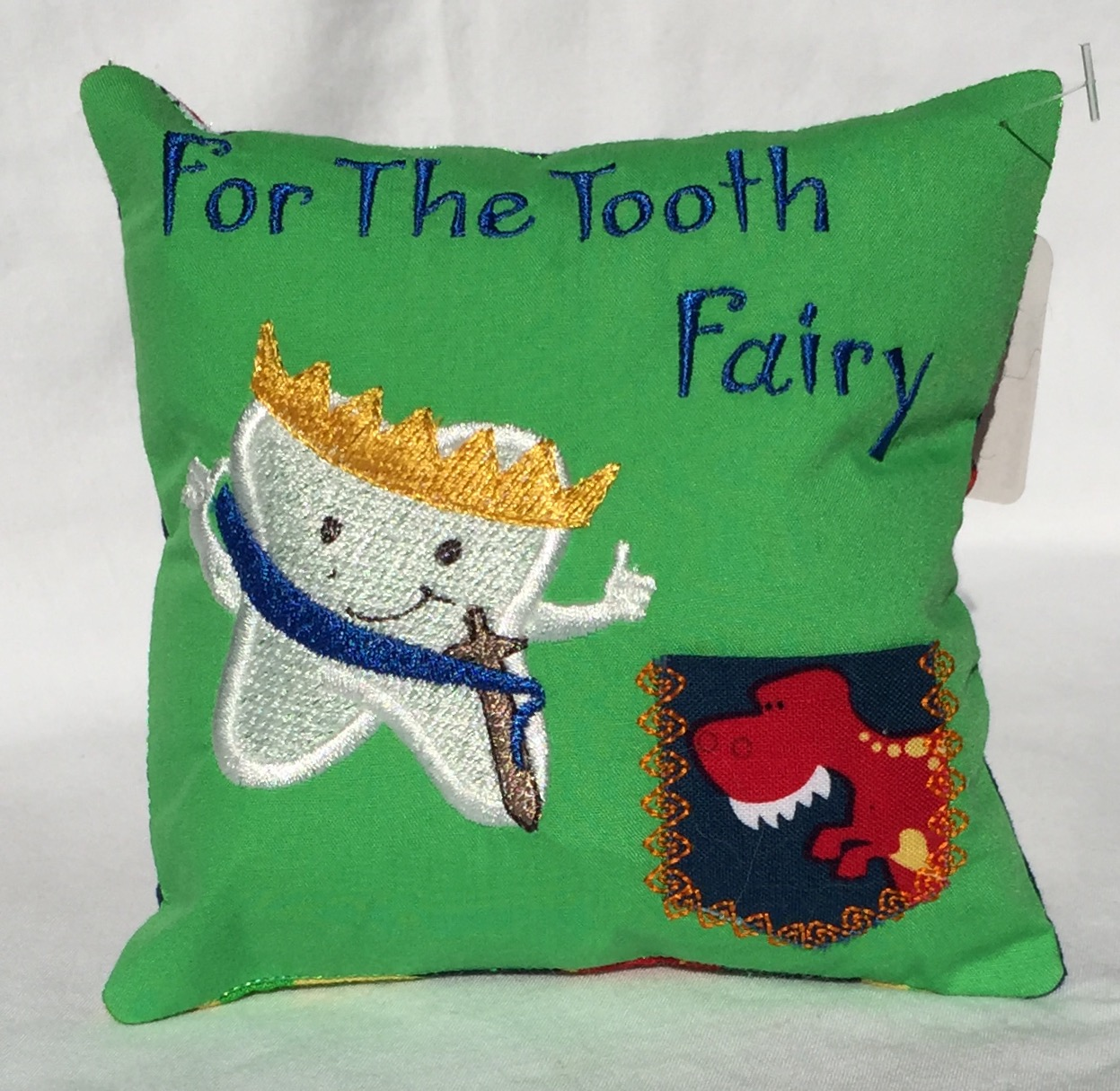 Prince  Dinosaur Green Tooth Fairy Pillow