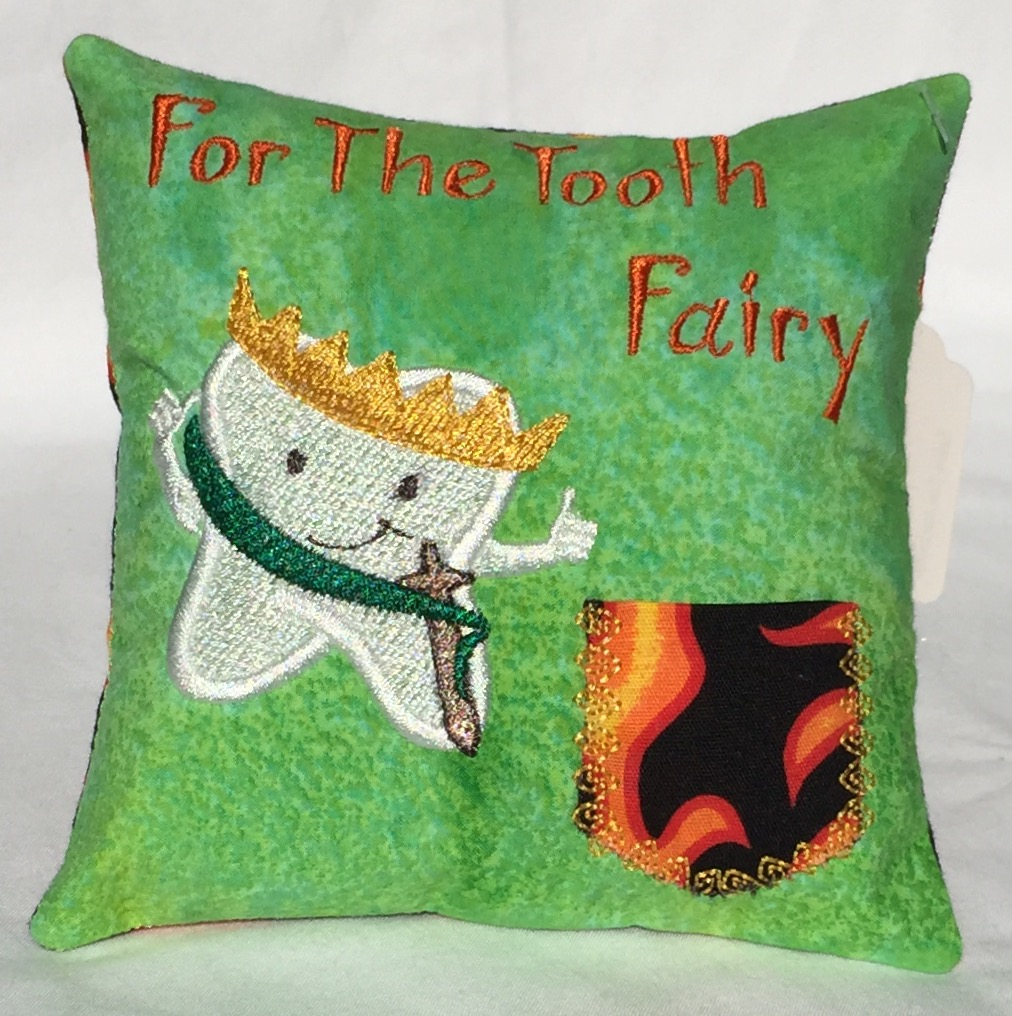 Prince Flames Green Tooth Fairy Pillow