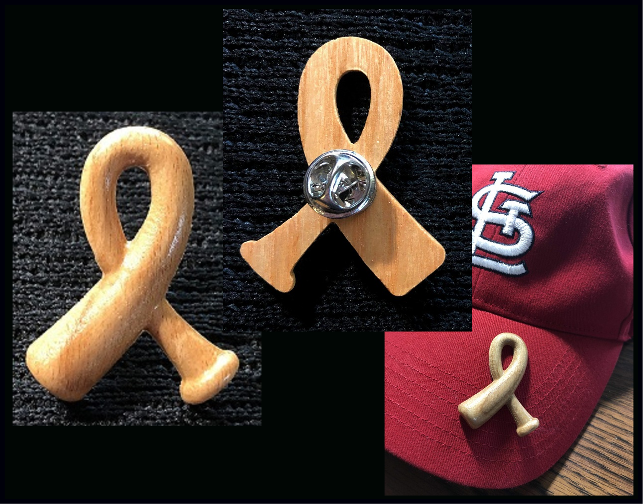 Cancer Awareness Ribbon Bat Pin
