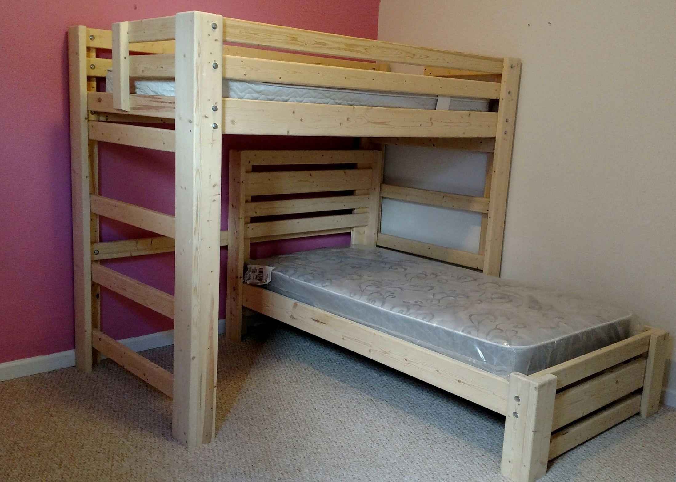 Twin over Twin T-Shape Bunk