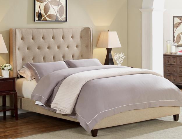 Mayes Beige Linen Bed