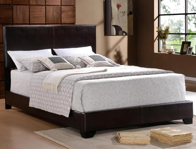 Erin Black Faux-Leather Bed