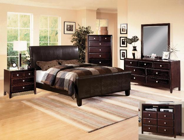 Tomas Brown Faux-Leather Sleigh Bed