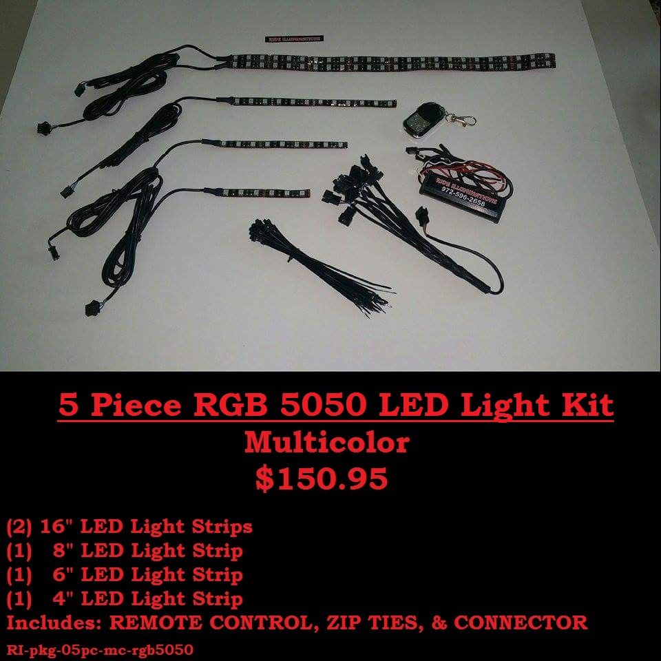 5 Piece RGB 5050 DIY LED Light Kit - Multicolor
