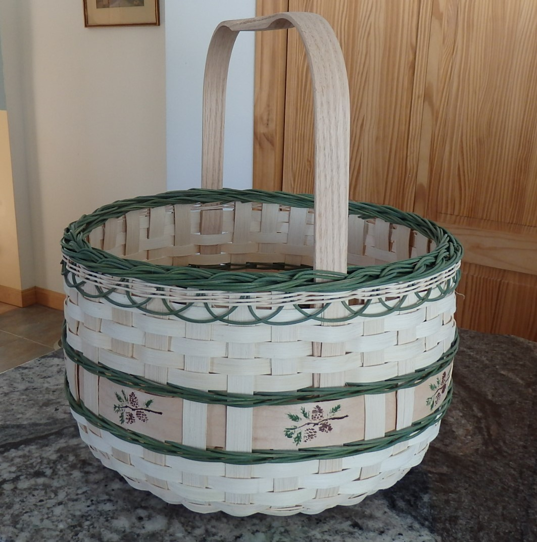 "14"" AROOSTOOK POTATO BASKET/WHITE PINE STENCIL"