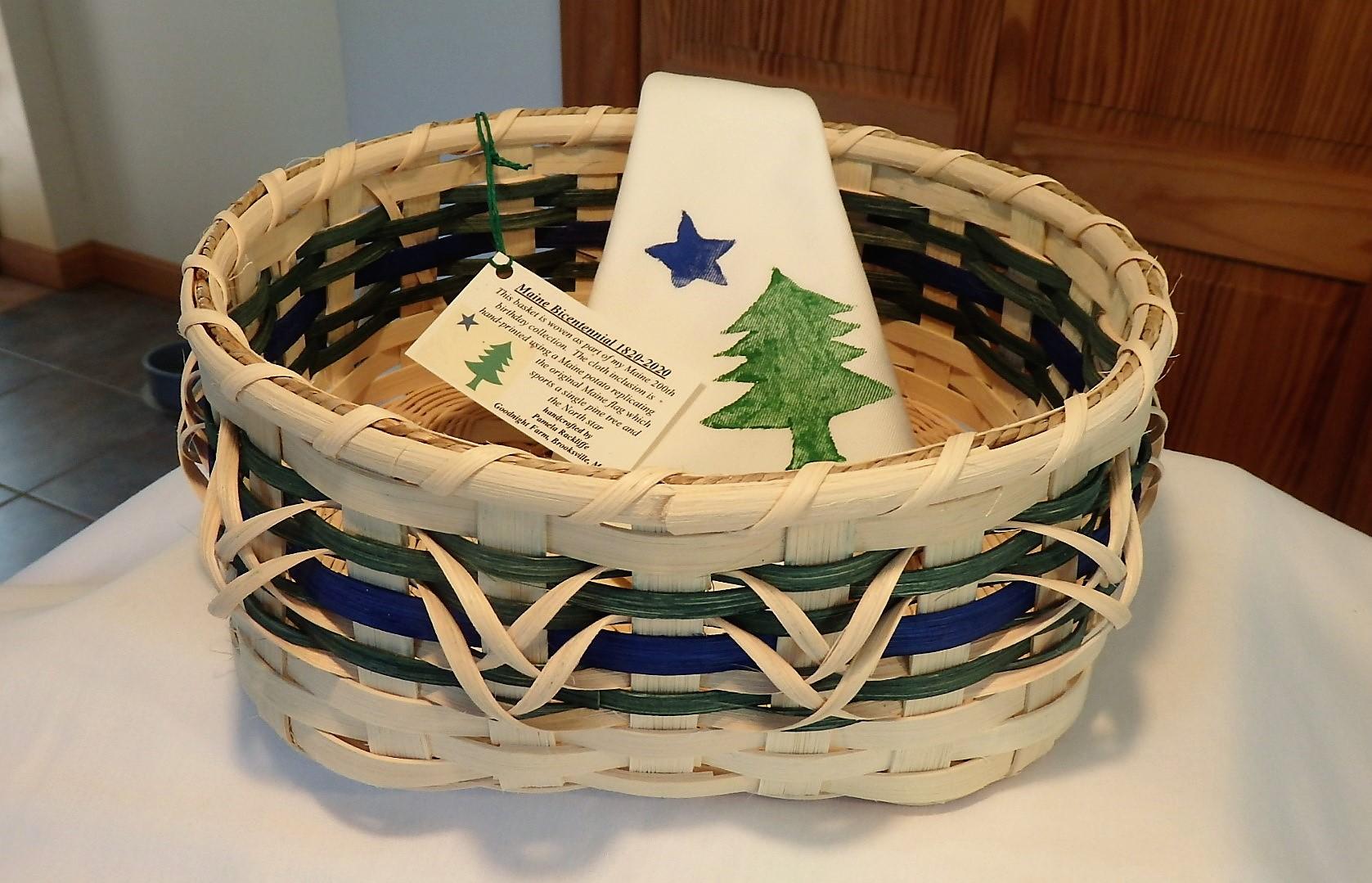 Maine Bicentennial bread basket (round)