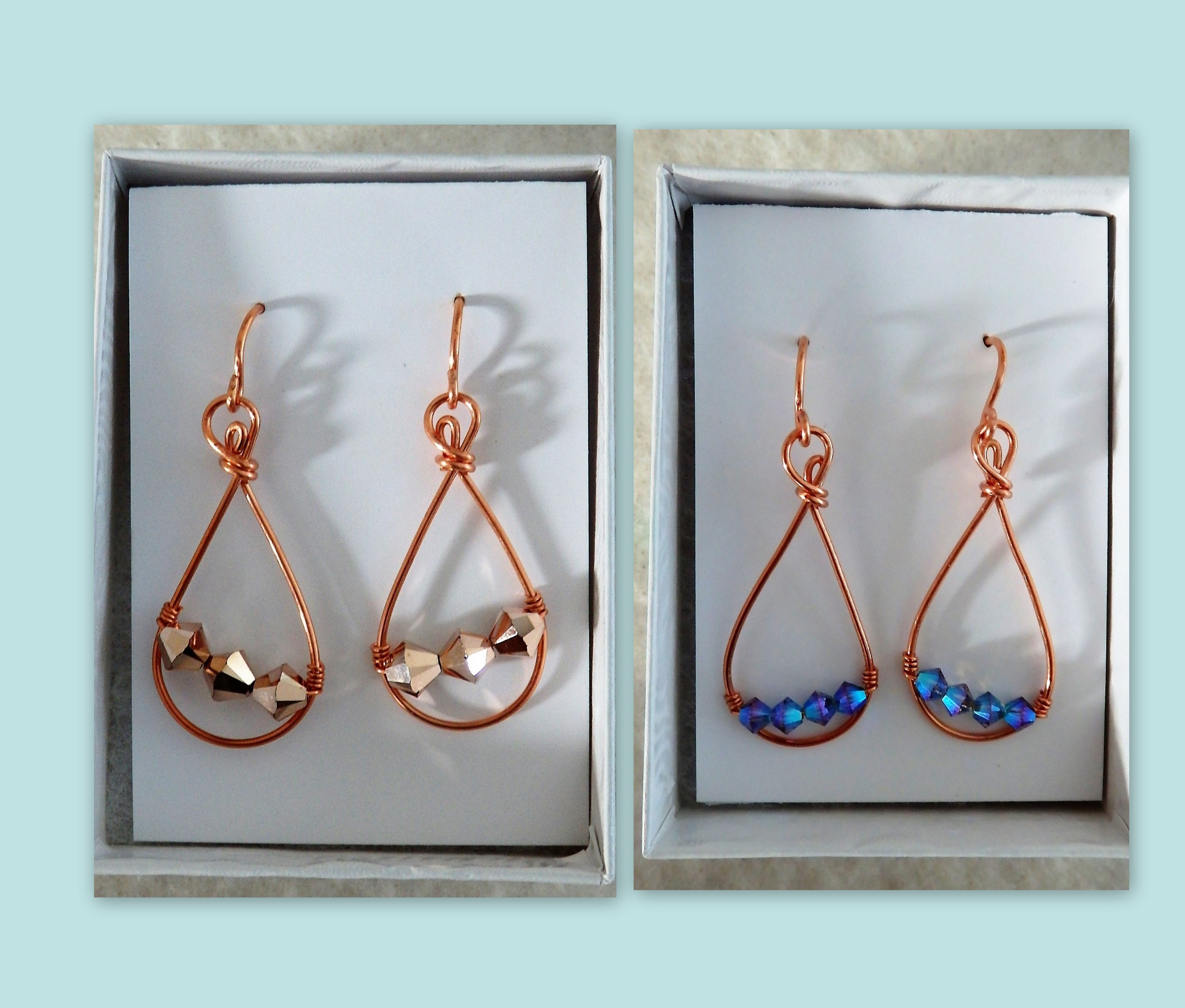 Copper/bead earrings