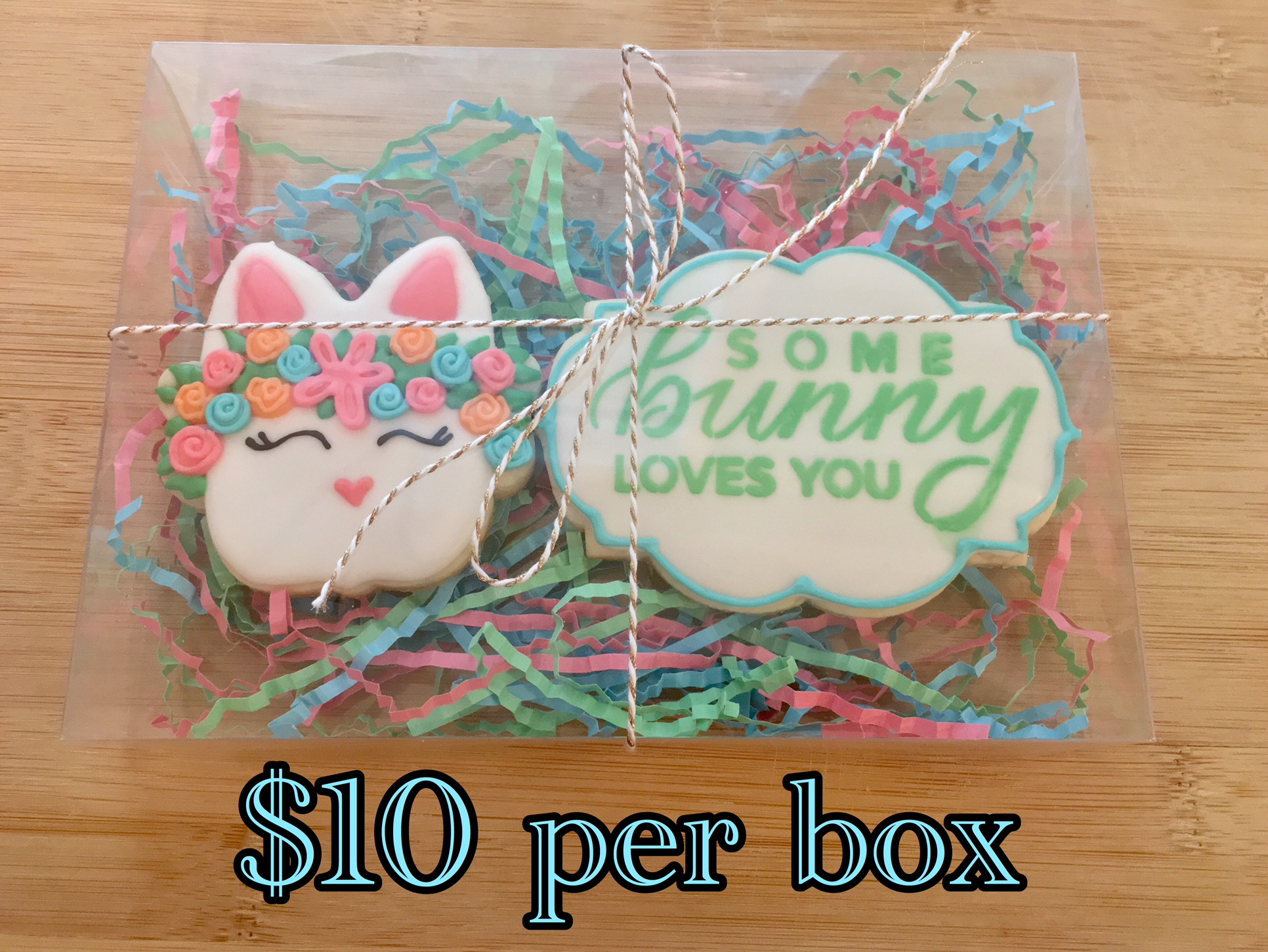Easter Bunny cookie with flowers