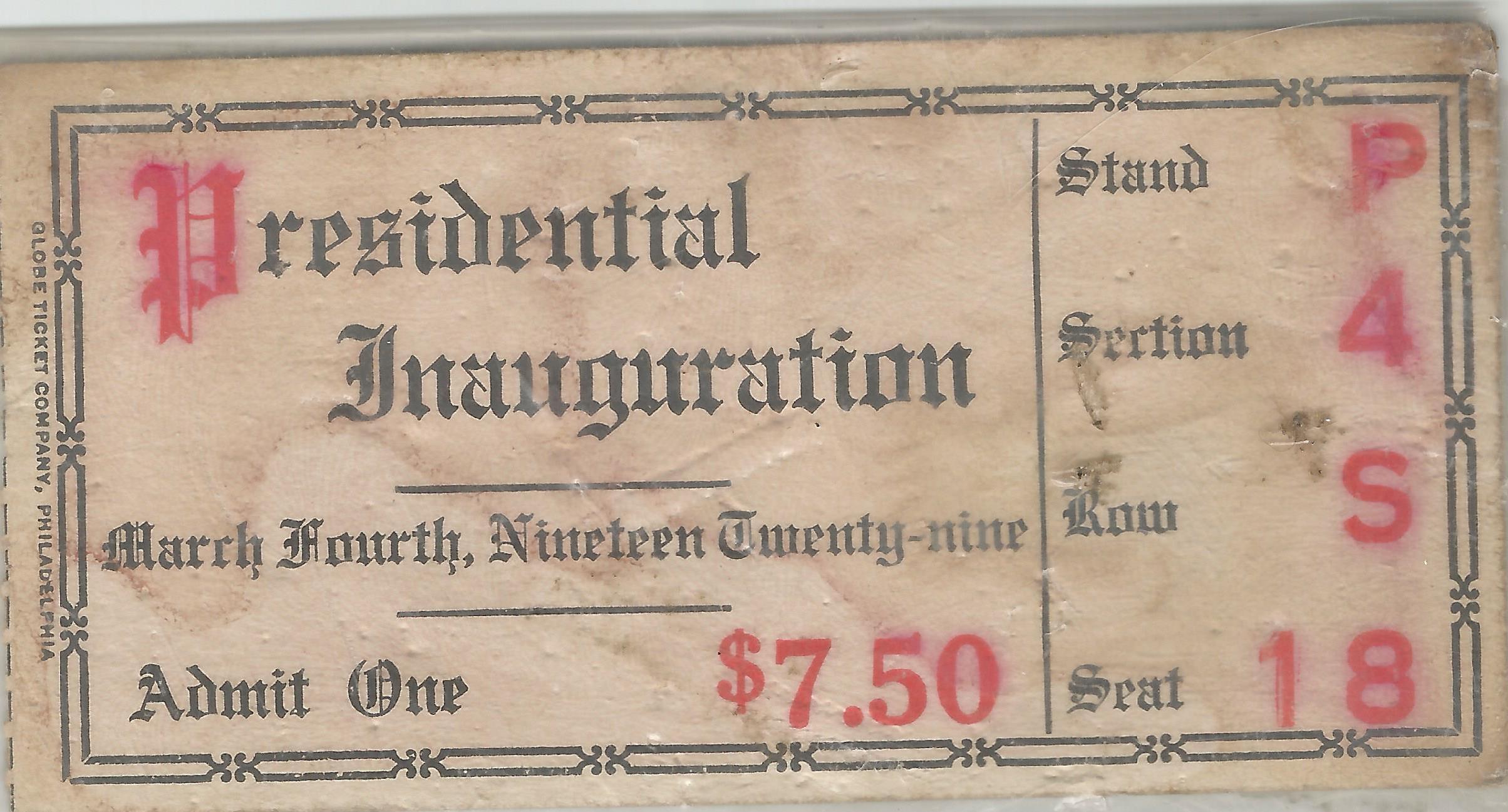 1929 Parade Ticket-PT1929-28