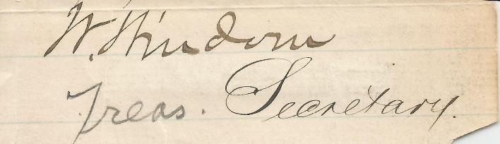 William Windom Treasury Secretary (Harrison, Garfield, Arthur)