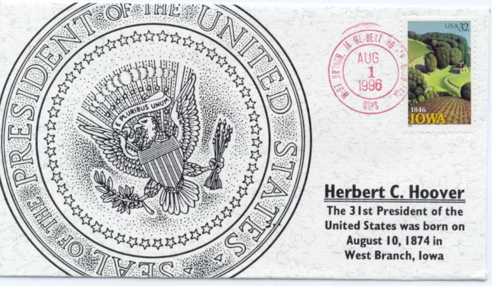 Hoover Iowa Statehood FDC #1