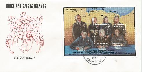 1994 Turks & Caicos ss 30th Anniv D-Day