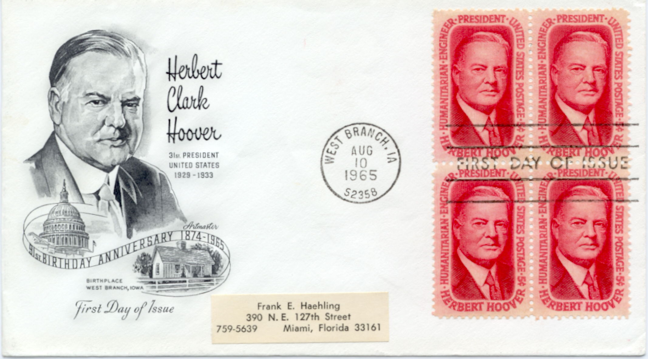 Hoover Memorial Cover #1