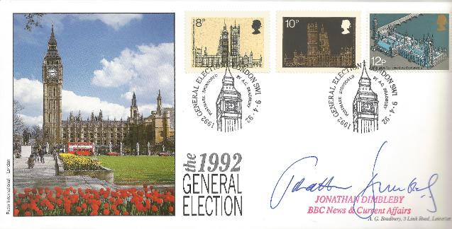 1992 General Election Jonathan Dimbleby signed