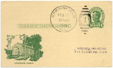38-12-12Lincoln Cabin postcard