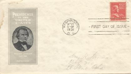 Andrew Johnson 38-10-27 Prexy FDC