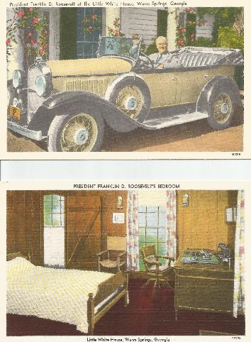 FDR's Automobile & Bedroom postcards
