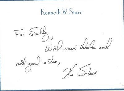 Kenneth Starr - Investigator Note Card