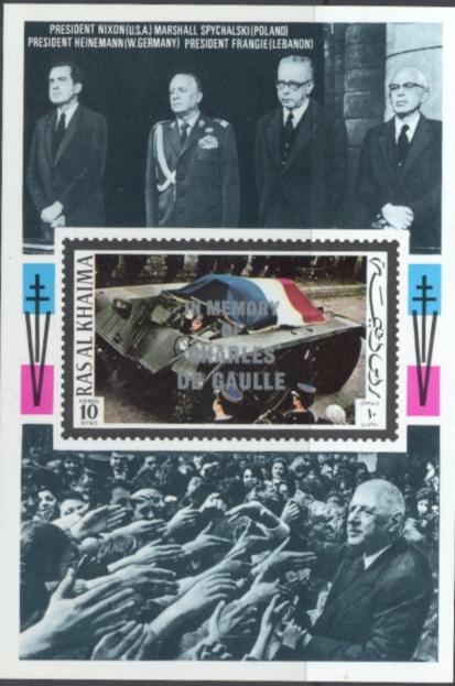 Ras Al Khaimia De Gaulle #2 Overprint