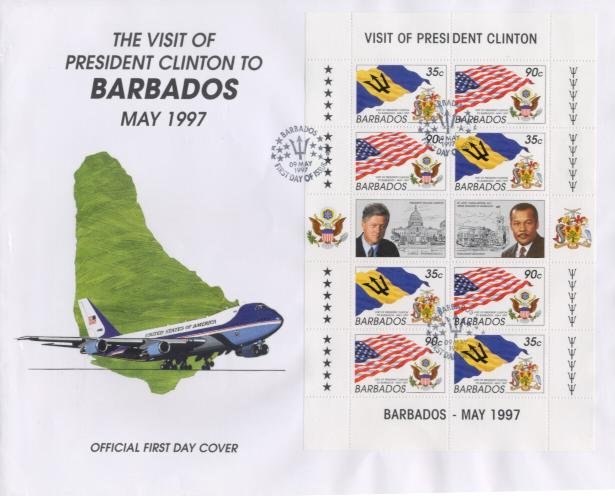 Barbados Visit  sheet FDC