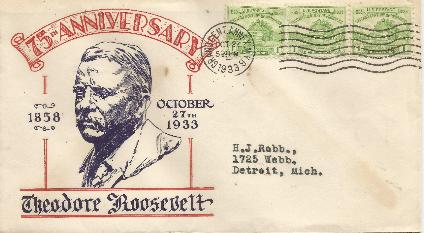 T Roosevelt 33-10-27 Special Event Cover # 5