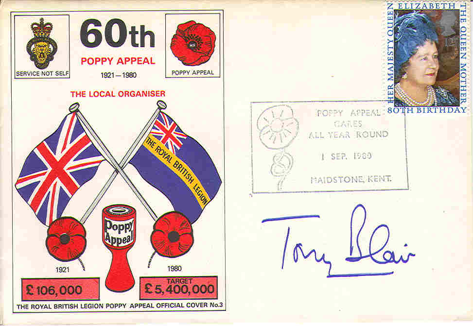 80 Poppy Appeal Signed by Tony Blair
