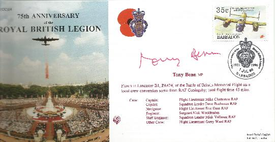 96 Royal British Legion Anniv signed by Tony Benn MP