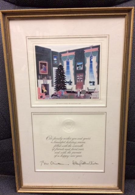 1996 Framed Clinton Christmas Card