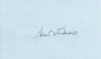 Paul O'Neil, Treasury Secretary George W Bush