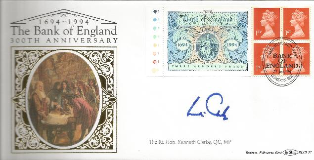 94 Bank of England signed by Kenneth Clarke