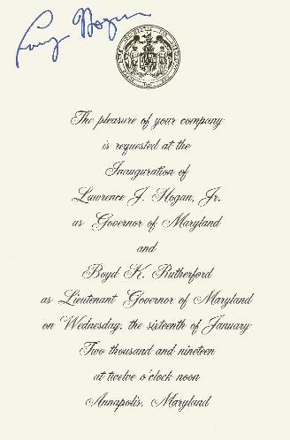 2019 Larry Hogan Inaugural Invitation SIGNED