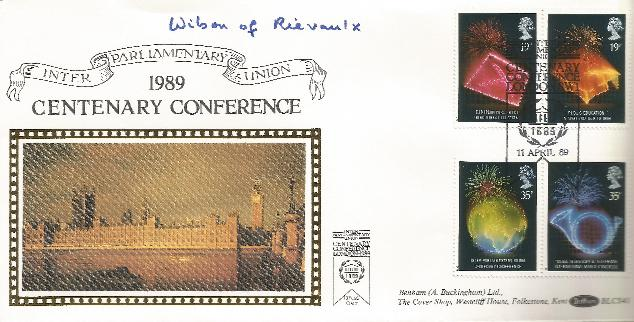 1989 Inter Parliamentary Union Harold Wilson Signed