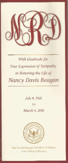 Nancy Reagan Funeral Card