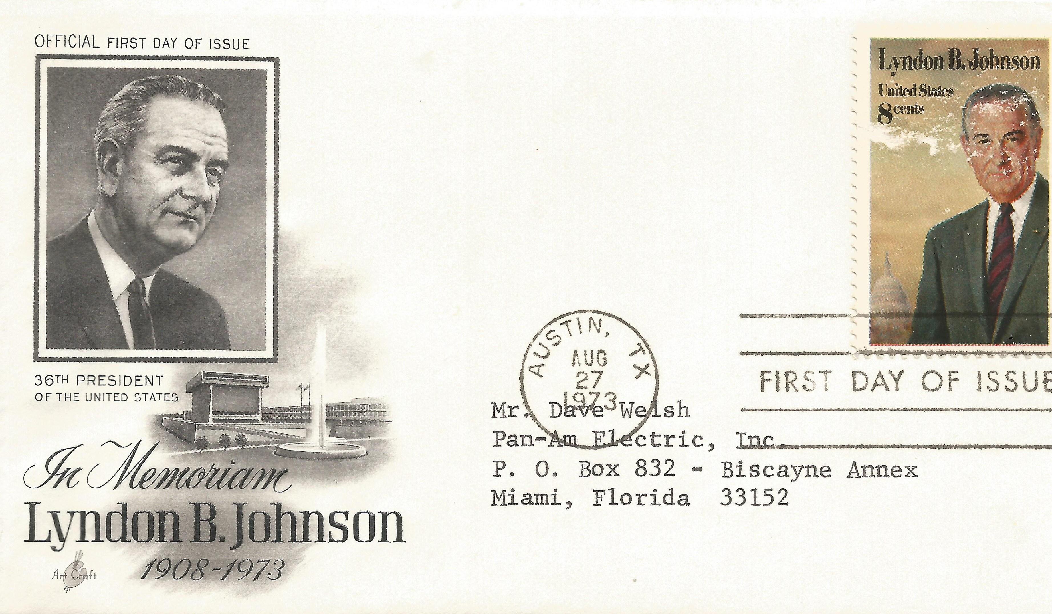 73-08-27 LBJ Memorial FDC #2