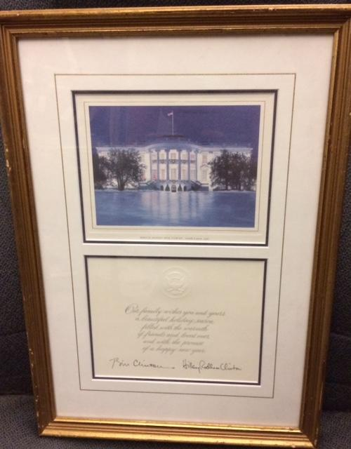 1997 Framed Clinton Christmas Card