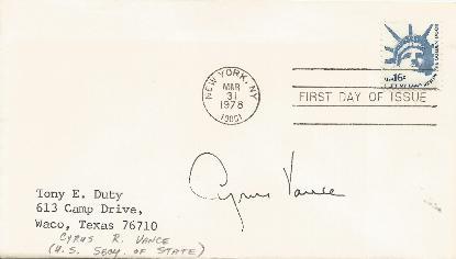 Cyrus Vance - Secretary of State