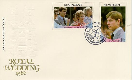 St Vincent Royal Wedding FDC #1