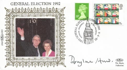 1992 General Election Douglas Hurd Signed