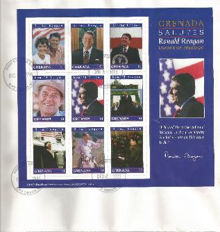 Grenada Honors Reagan FDC