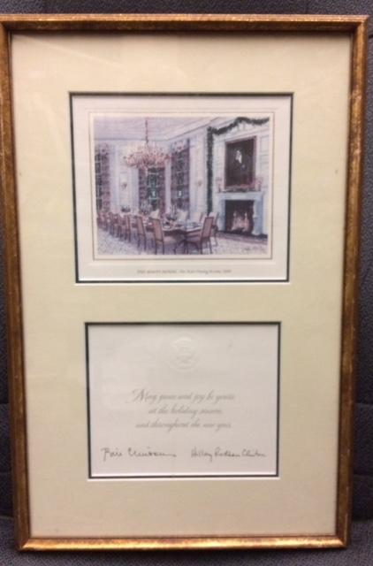1998 Framed Clinton Christmas Card